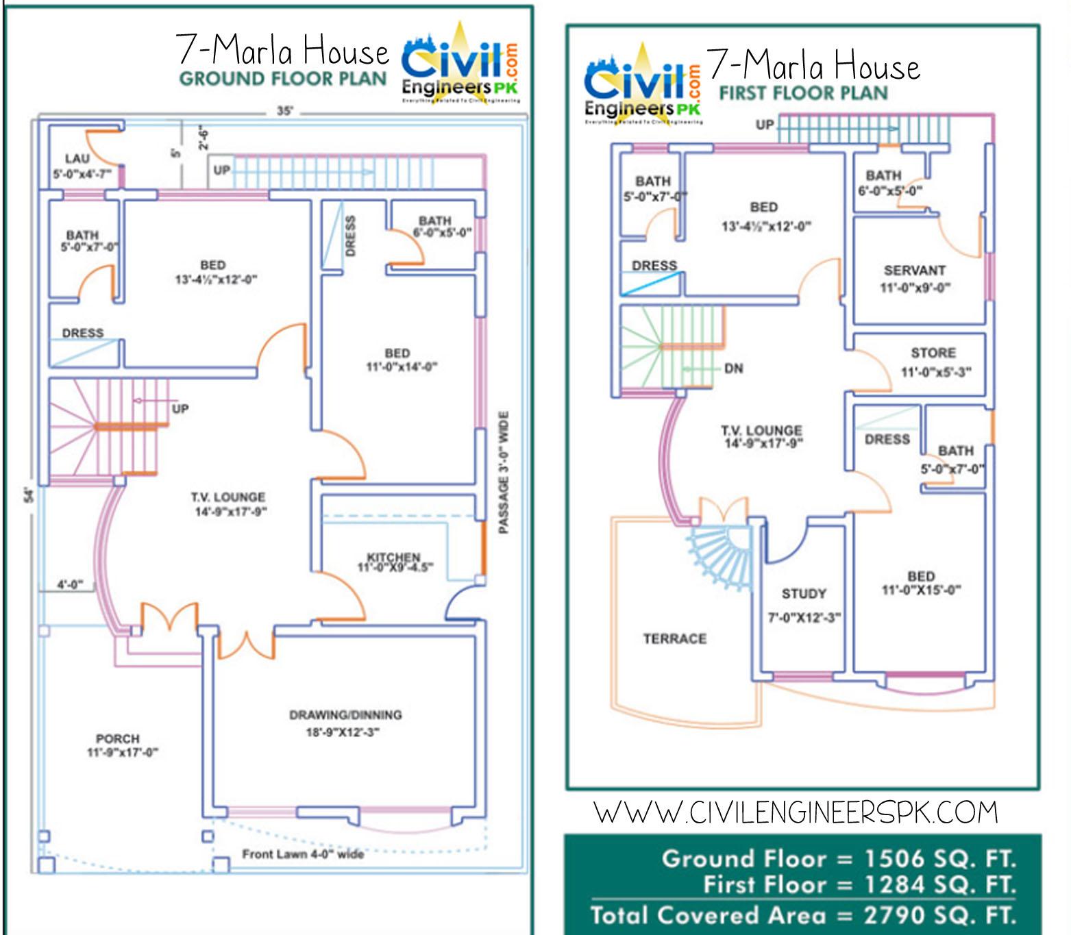 House Maps 5 Marla Plan 7 marla house
