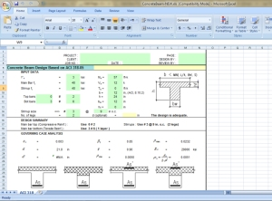 Concrete beam design calculation excel