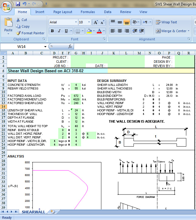 Shear Wall Design Excel Sheet Based On ACI 318 02