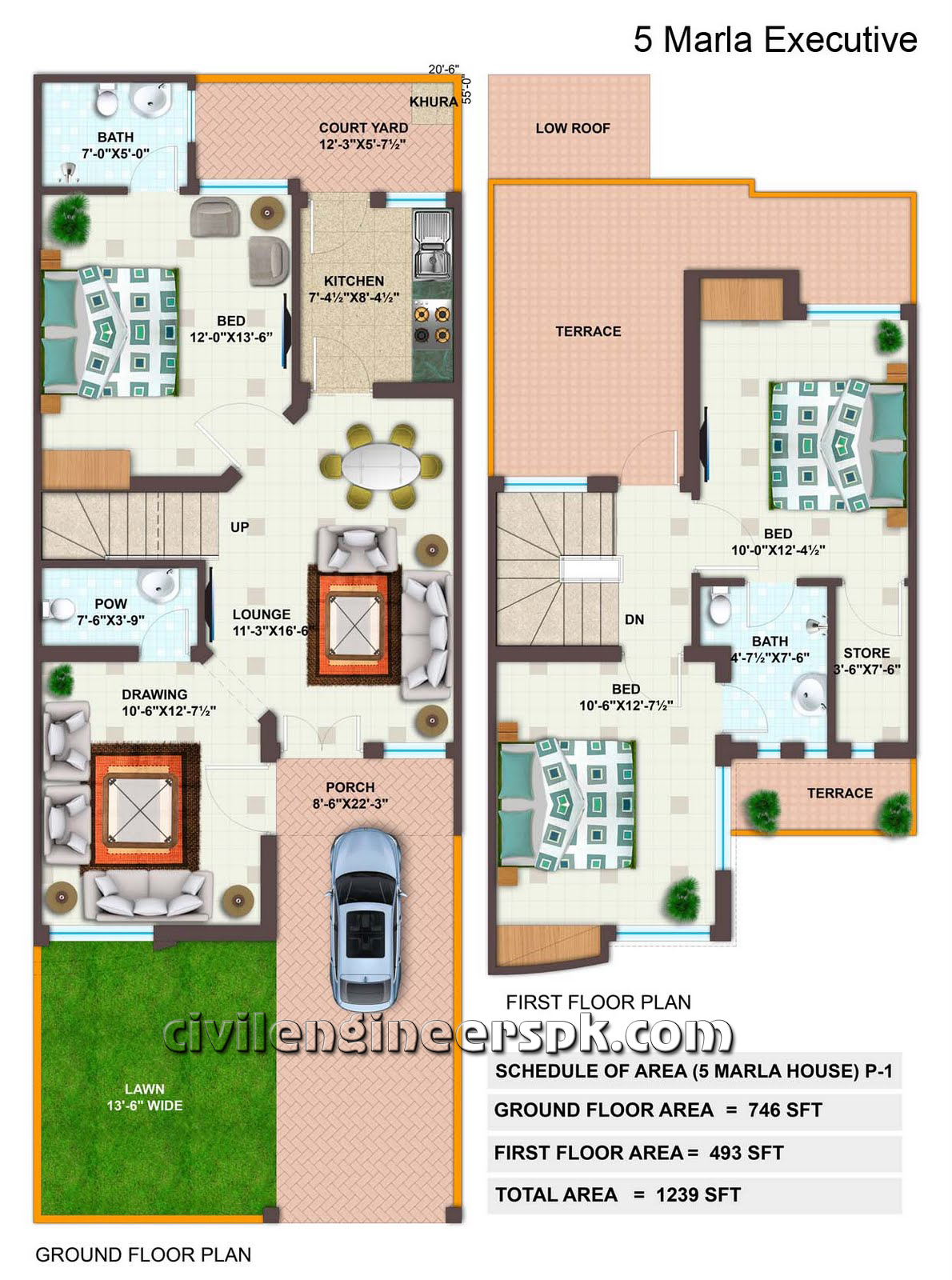 5 marla house floor plan