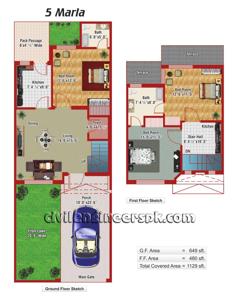 5 Marla House Plan In Autocad House Design Plans