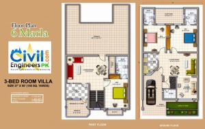 6 Marla House Plan